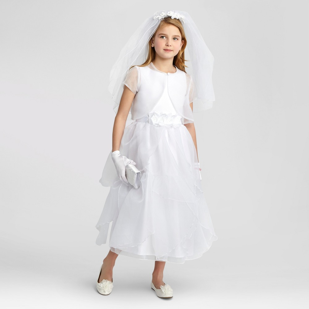 Girls Mia Sophia Rose Petal Organza Skirt with Jacket Communion Dress - White 12