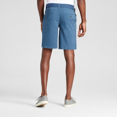 Men's Belted Flat Front Chino Shorts with Stretch Teal (Blue) 33 - Mossimo Supply Co.