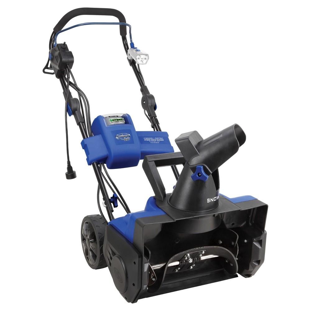 Snow Joe 40V 4.0 Ah Hybrid Cordless + Electric 18 in Snow Blower, Blue