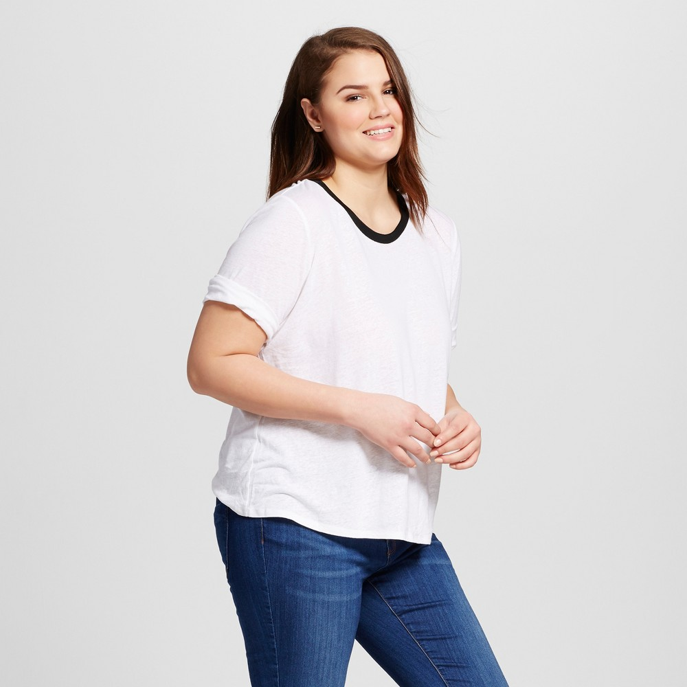 Women's Plus Size Rib Trim Elbow Sleeve Tee White 3X – Who What Wear