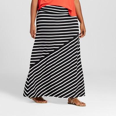 Women's Plus Size Knit Maxi Skirt - Ava & Viv™ Black Stripe 3X