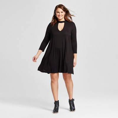 Black dress with textured tights plus