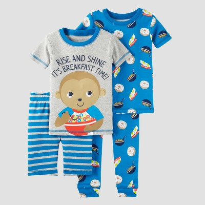 Toddler Boys' 4pc Snug Fit Cotton Pajama Set - Just One You™ Made by Carter's® Gray 12M