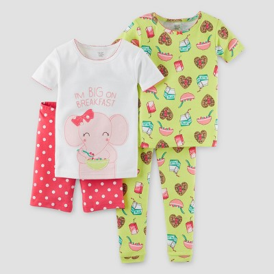 Toddler Girls' Snug Fit Cotton 4pc Pajama Set - Just One You™ Made by Carter's® Green 18M