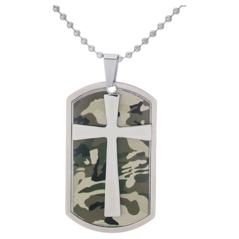 Men's Silver-Tone Stainless Steel Gray Army Camouflage Cross Dog Tag, Army Green