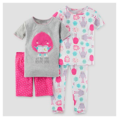 Baby Girls' Snug Fit Cotton 4pc Pajama Set - Just One You™ Made by Carter's® Gray 9M