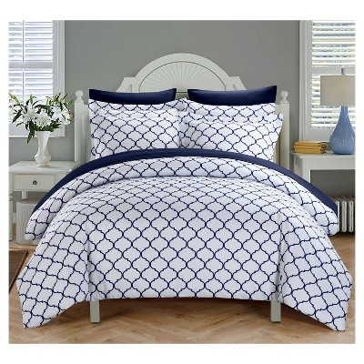 Finlay Geometric Diamond Reversible Duvet Cover Set 3 Piece (Queen)Navy - Chic Home Design