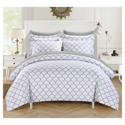 Finlay Geometric Diamond Reversible Duvet Cover Set 3 Piece (Queen)Gray - Chic Home Design