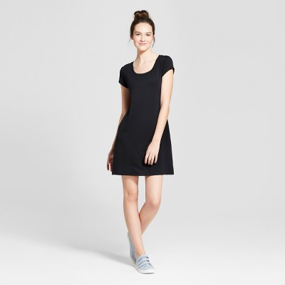 Women's Short Sleeve T-Shirt Dress - Mossimo Supply Co.™ Black L