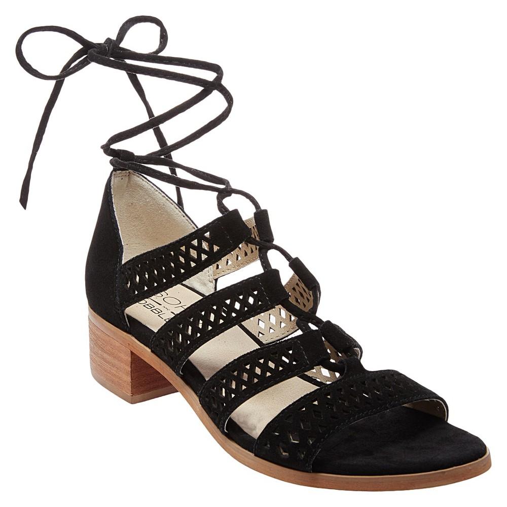 Womens Soho Cobbler Druzy Block Heel Laser Cut Suede Gladiator Sandals - Black 10