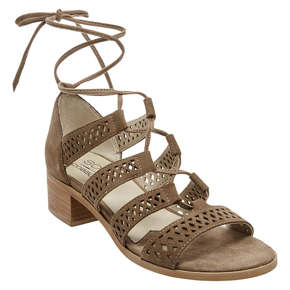 Womens Soho Cobbler Druzy Block Heel Laser Cut Suede Gladiator Sandals - Taupe 9, Light Taupe