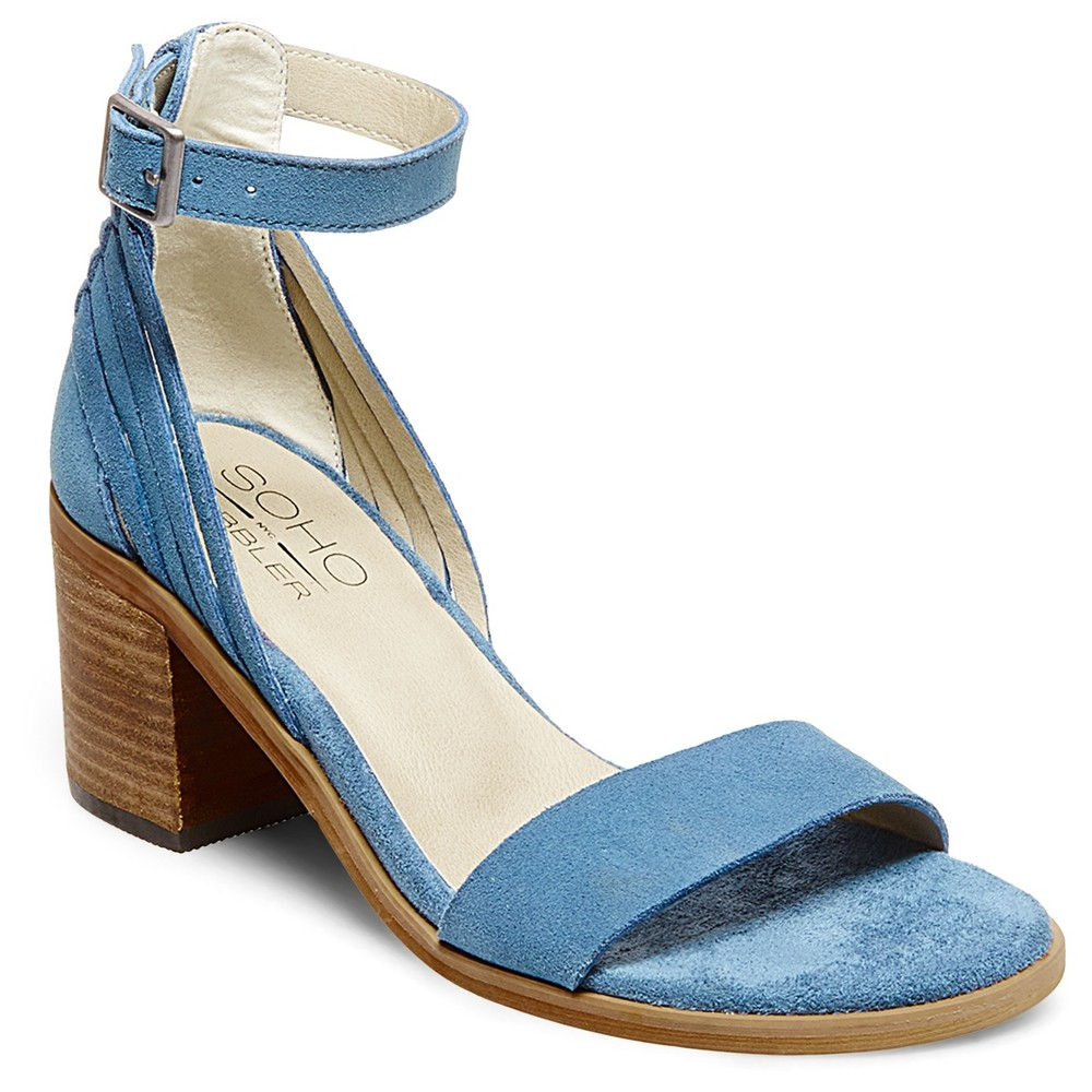 Womens Soho Cobbler Serene Suede Quarter Strap Sandals - Blue 6.5