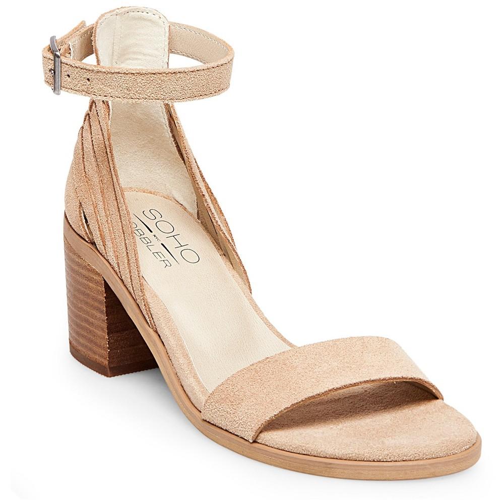 Womens Soho Cobbler Serene Suede Quarter Strap Sandals - Natural 8.5