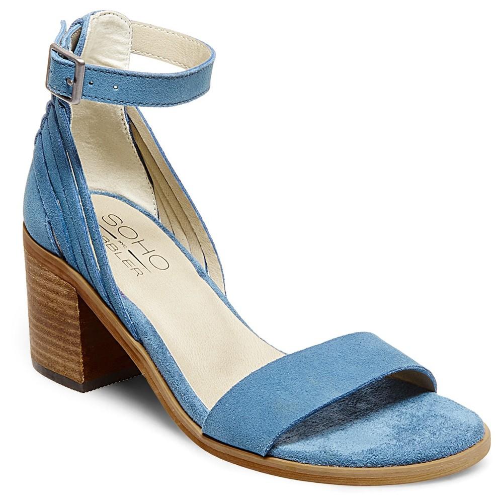 Womens Soho Cobbler Serene Suede Quarter Strap Sandals - Blue 8.5
