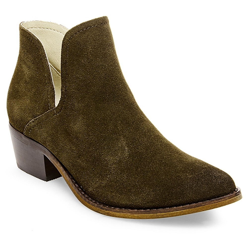 Womens Soho Cobbler Daedrmr Side Notch Leather Booties - Olive (Green) 7.5