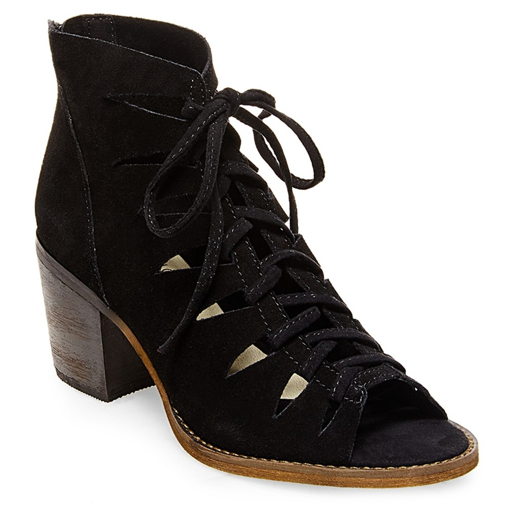 Womens Soho Cobbler Basil Lace Up Suede Open Toe Booties - Black 7.5