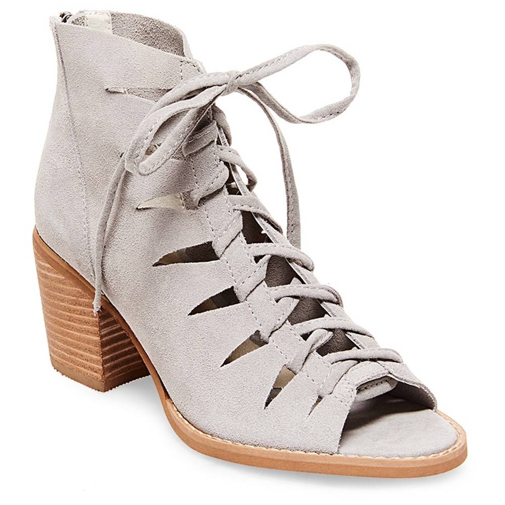 Womens Soho Cobbler Basil Lace Up Suede Open Toe Booties - Gray 9.5
