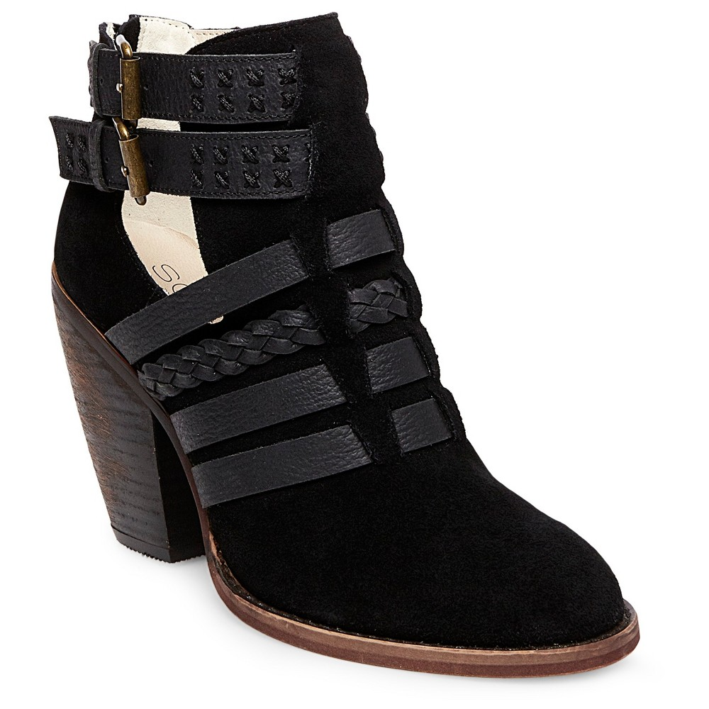 Womens Soho Cobbler Eliat Strappy Leather And Suede Booties - Black 8