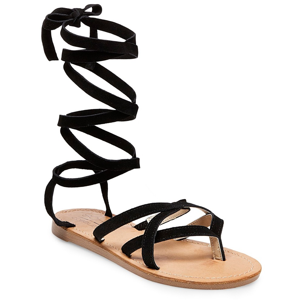 Womens Soho Cobbler Amathist Suede Ankle Wrap Gladiator Sandals - Black 6.5