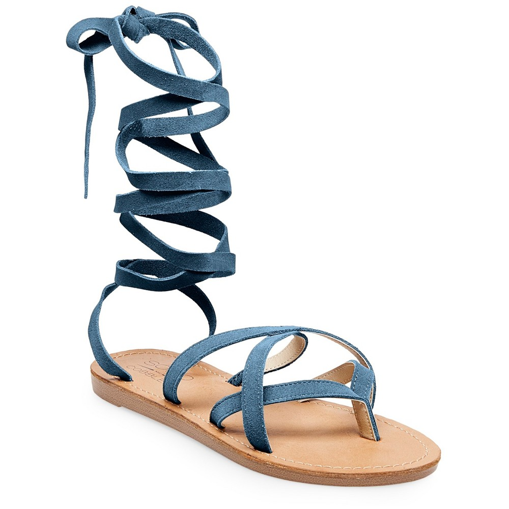 Womens Soho Cobbler Amathist Suede Ankle Wrap Gladiator Sandals - Blue 8.5