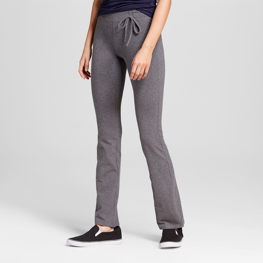 Women's Tie Waist Bootcut Pants Charcoal (Grey) L - Mossimo Supply Co.