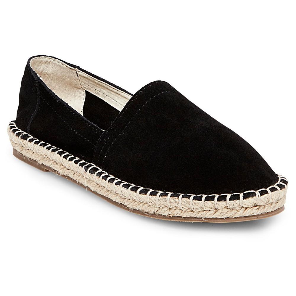 Womens Soho Cobbler Lemon Wide Width Suede Espadrille Flat Shoes - Black 9.5W, Size: 9.5 Wide