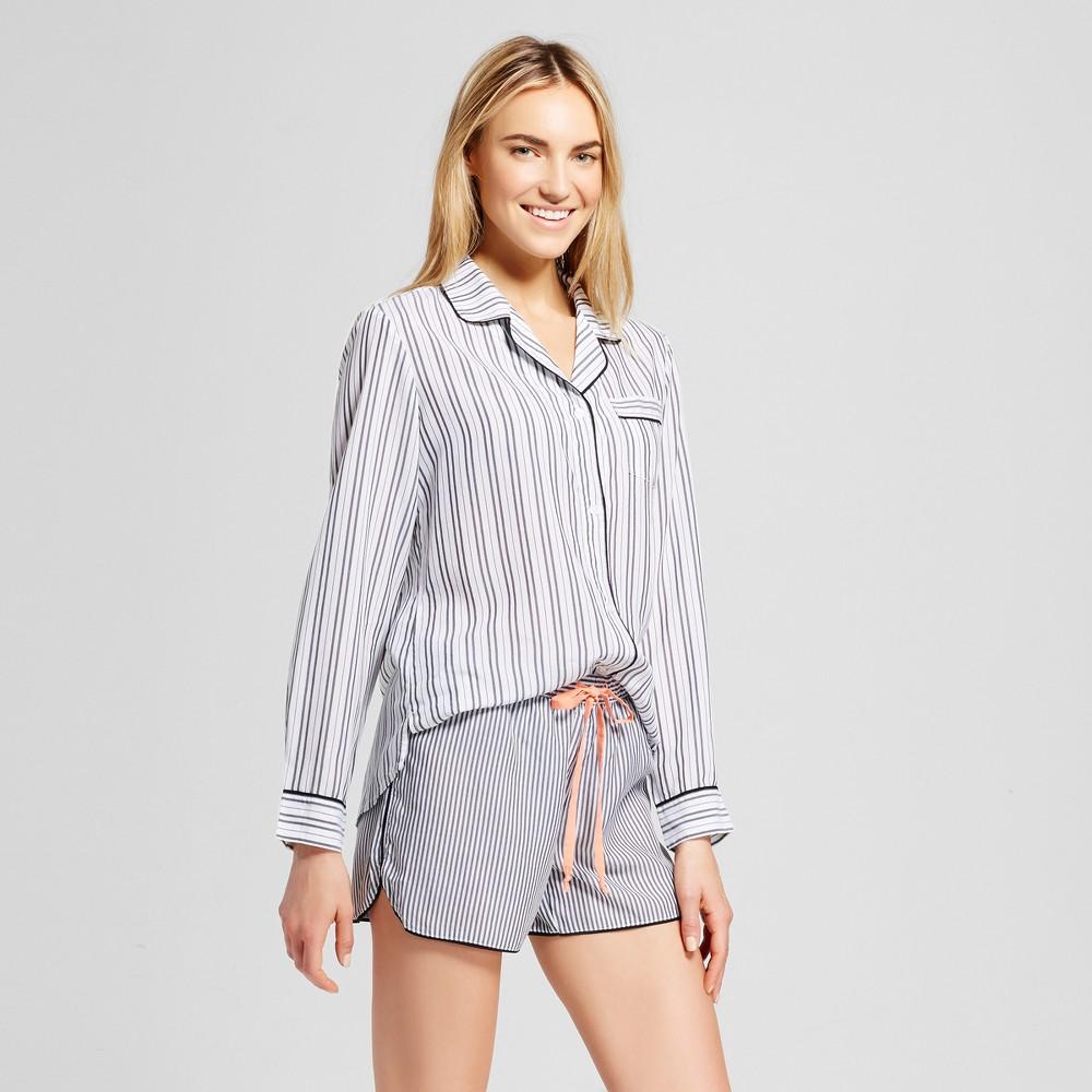 Womens Tencel Striped Pajama Set White XS