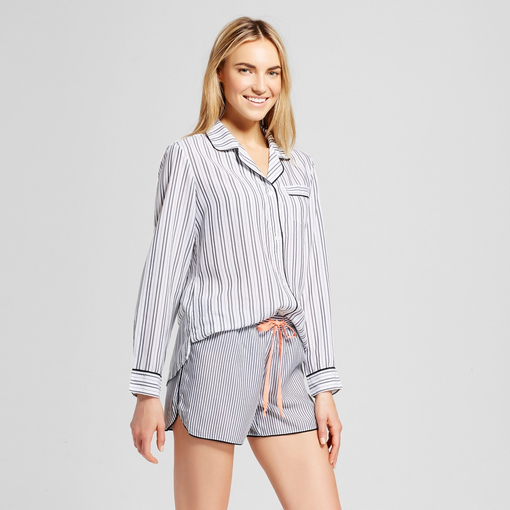 Womens Tencel Striped Pajama Set White Xxl