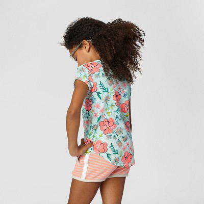 Girls' Pocket Tee Cat & Jack - Mint Floral Print M, Girl's, Green