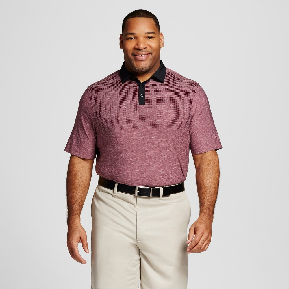 Men's Big & Tall Printed Golf Polo - C9 Champion Bordeaux Red Heather/Black L Tall, Size: LT