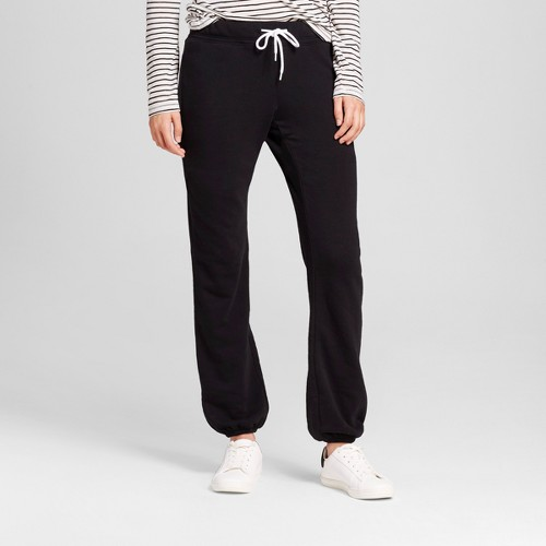 Women's Banded Fleece Sweatpant Black L - Mossimo Supply Co.
