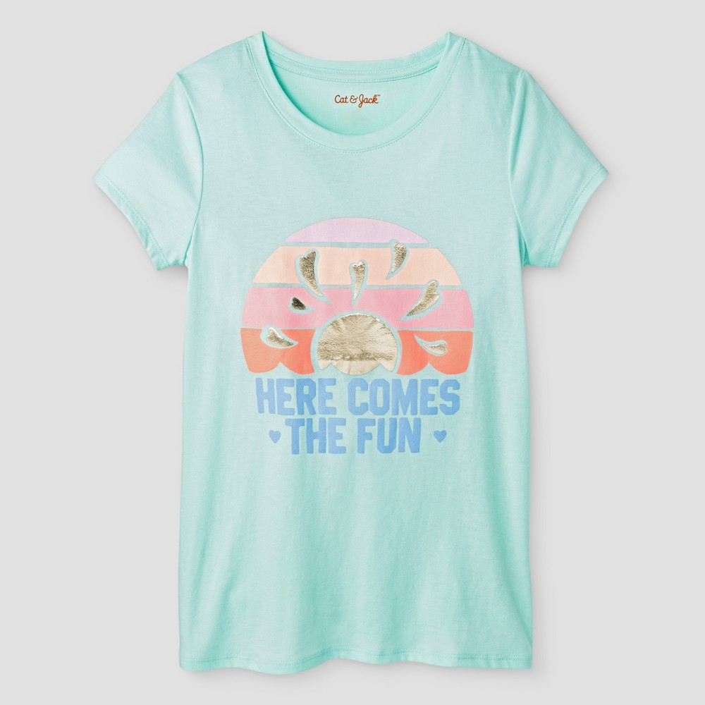 Girls Here Comes The Fun Short Sleeve Graphic T-Shirt - Cat & Jack Aqua Float S, Green