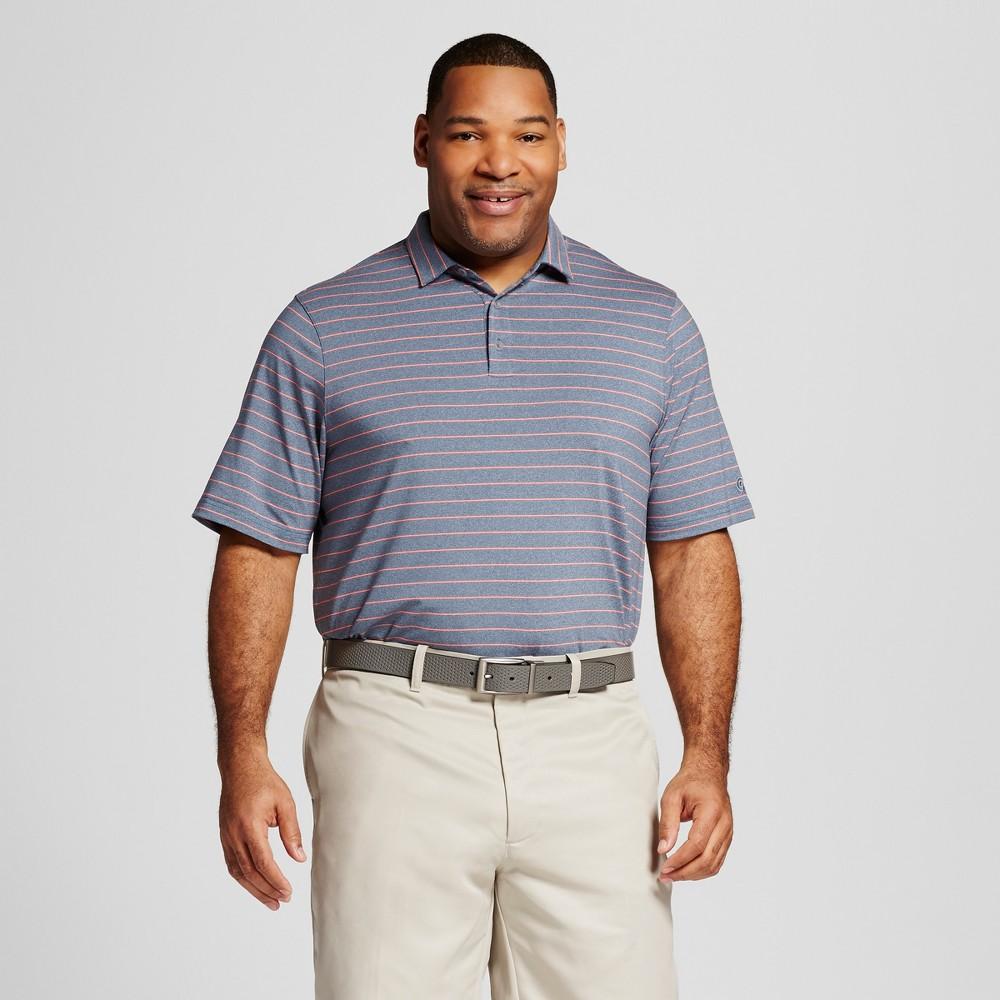 Men's Big & Tall Fashion Stripe Golf Polo Cruising Blue Heather/Melon Punch Pink 4XB Tall – C9 Champion