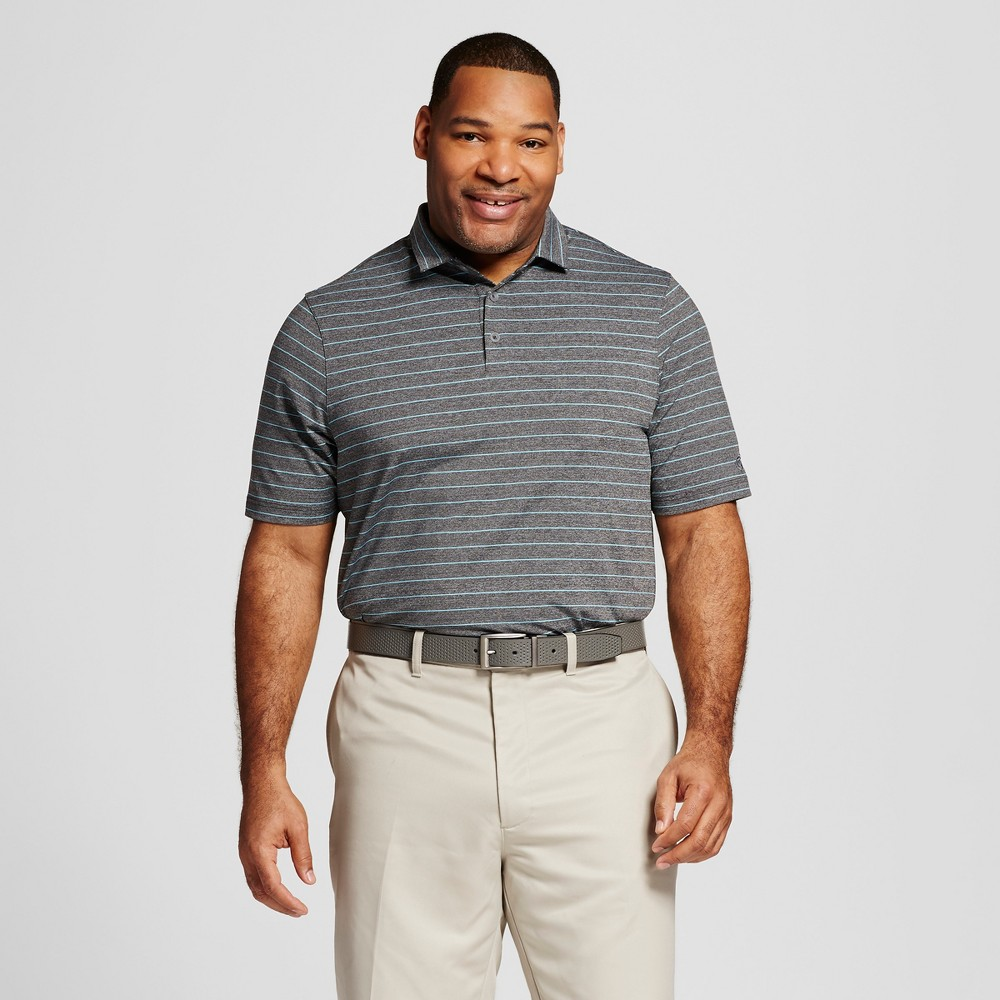 Mens Big & Tall Stripe Golf Polo - C9 Champion Charcoal (Grey) 2XB