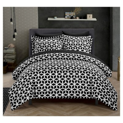 Lovey Geometric Diamond Reversible Duvet Cover Set 3 Piece (Queen)Black - Chic Home Design