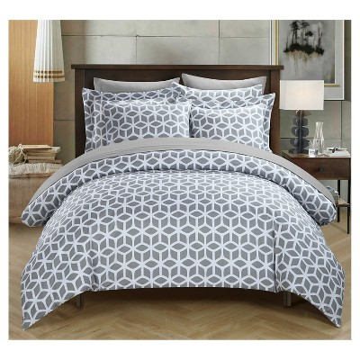 Lovey Geometric Diamond Reversible Duvet Cover Set 3 Piece (Queen)Gray - Chic Home Design