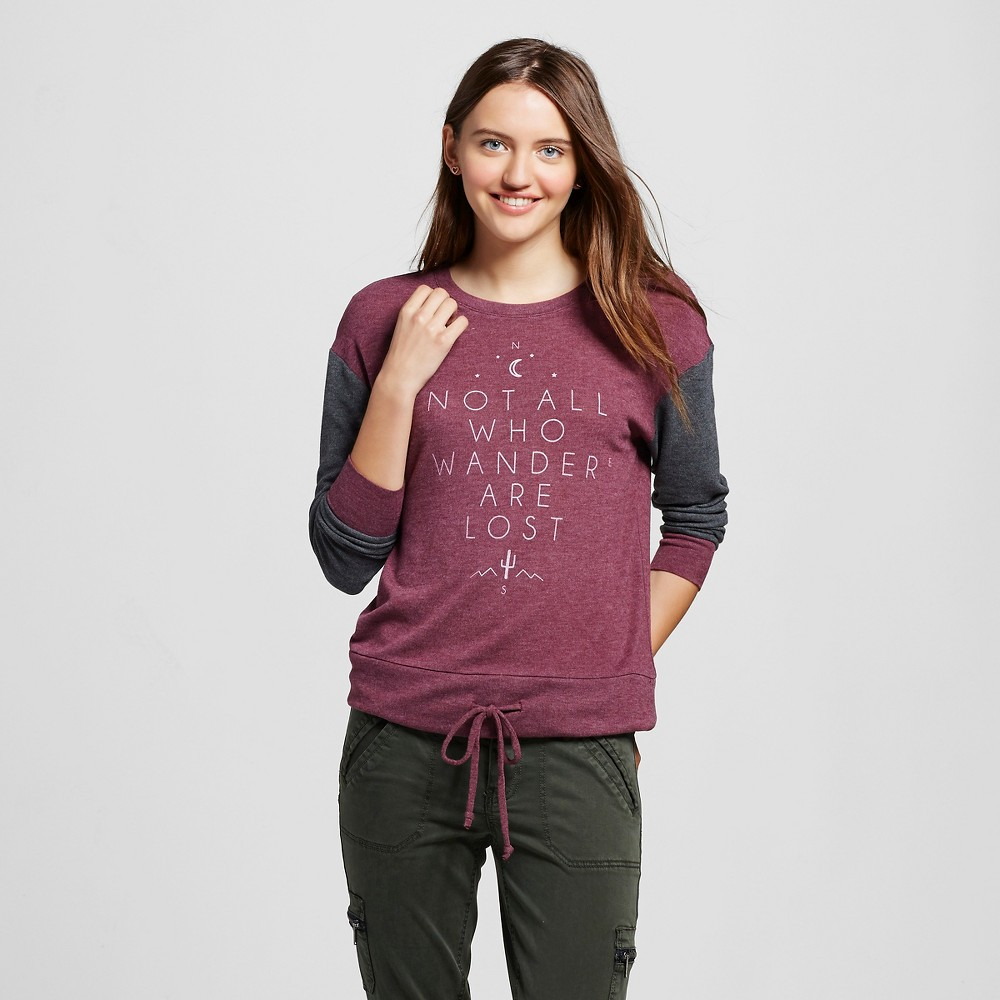 Womens Not All Who Wander Are Lost Super Soft Drawstring Pullover Burgundy S - Well Worn (Juniors), Purple