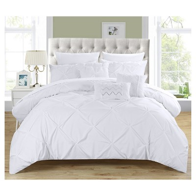 Valentina Pinch Pleated & Ruffled Comforter Set 10 Piece (King)White - Chic Home Design