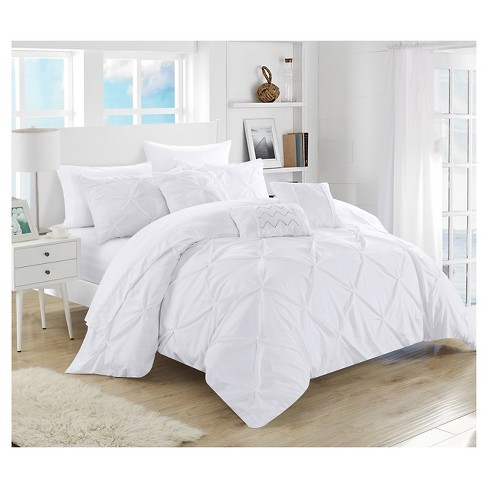 Valentina Pinch Pleated & Ruffled 10 Piece Comforter Set - Chic ...