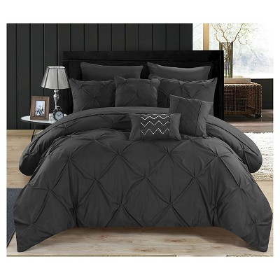 Valentina Pinch Pleated & Ruffled Comforter Set 10 Piece (Queen)Black - Chic Home Design