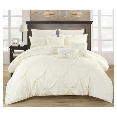 Valentina Pinch Pleated & Ruffled Comforter Set 10 Piece (Queen)Beige - Chic Home Design