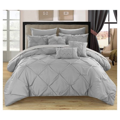 Valentina Pinch Pleated & Ruffled Comforter Set 10 Piece (Queen)Silver - Chic Home Design