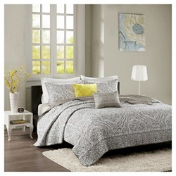 Andrea Medallion Trellis Print Quilted Coverlet Set - Gray
