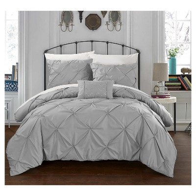Whitley Pinch Pleated & Ruffled Duvet Cover Set 4 Piece (Queen)Silver - Chic Home Design