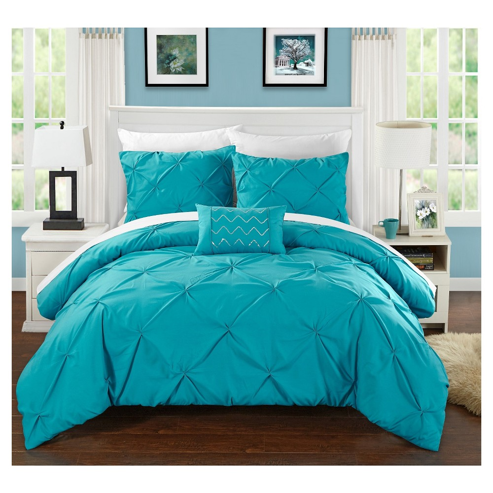 Whitley Pinch Pleated & Ruffled Duvet Cover Set 4 Piece (Queen) Turquoise - Chic Home Design