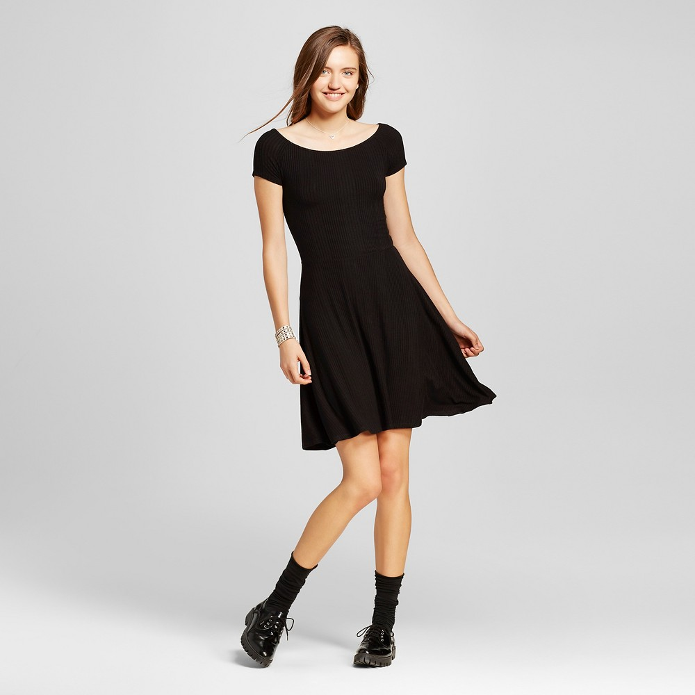 Women's Off the Shoulder Rib Skater Dress Black Xxl – Mossimo Supply Co.