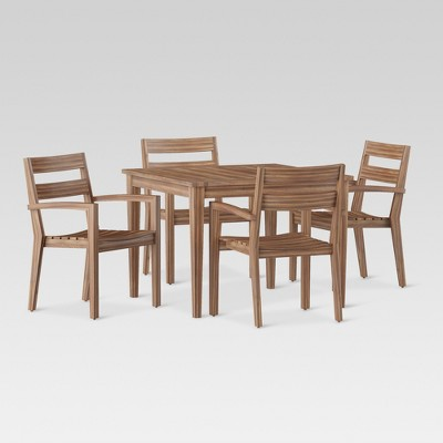 James 5pc Rectangle Wood Patio Dining Set   Brown   Threshold™