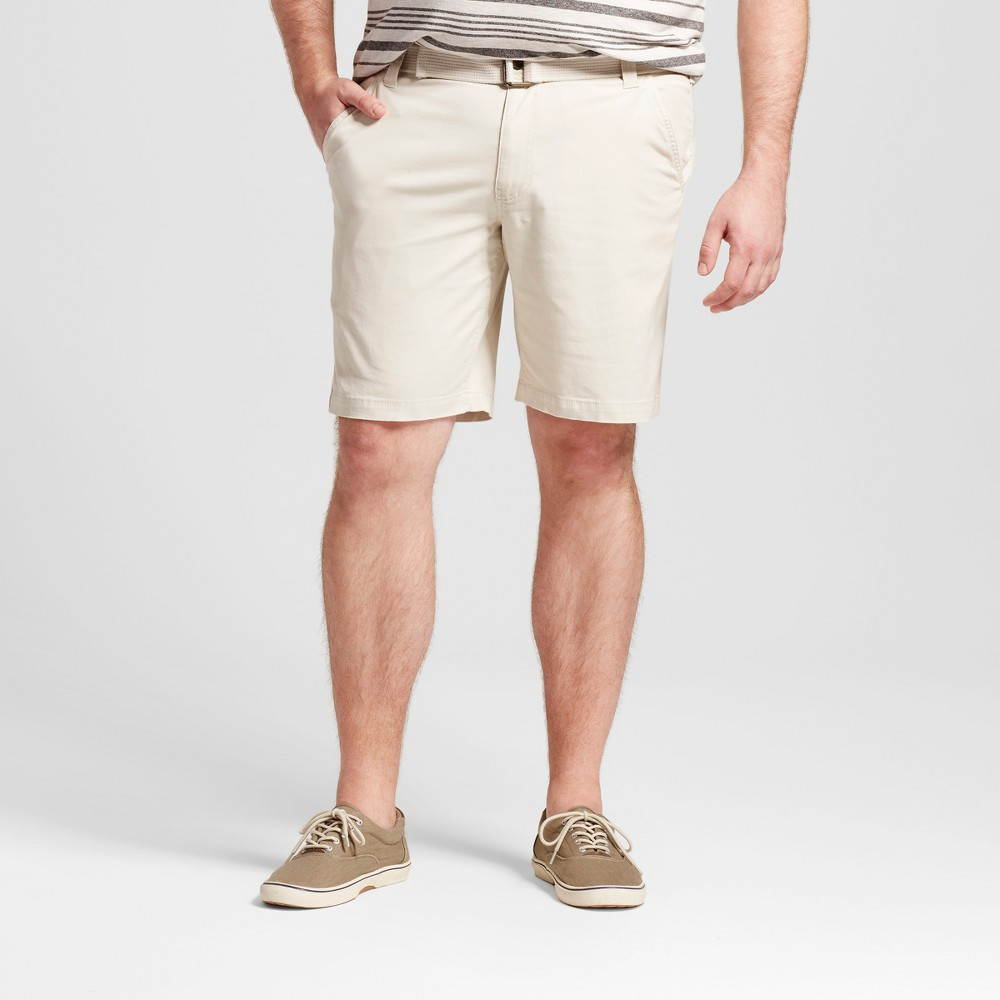 Mens Big & Tall Belted Flat Front Chino Shorts - Mossimo Supply Co. Tan 50
