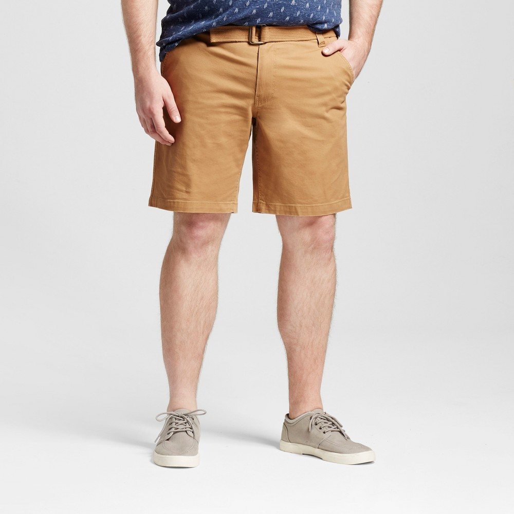 Mens Big & Tall Belted Flat Front Chino Shorts - Mossimo Supply Co. Brown 52