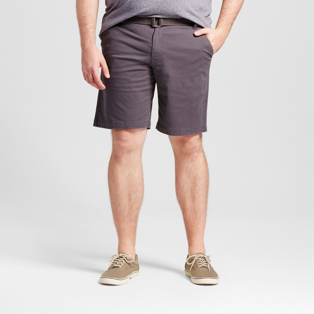 Mens Big & Tall Belted Flat Front Chino Shorts - Mossimo Supply Co. Gray 56